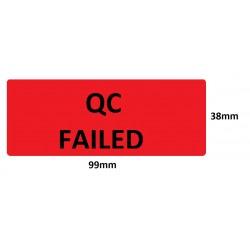 Etykiety kontroli jakości 99x38mm, czerwone, neonowe, 14szt.