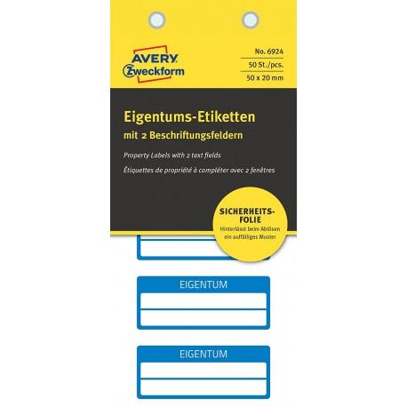 Tabliczki inwentaryzacyjne - plomby 2 pola na tekst 50x20 niebieskie