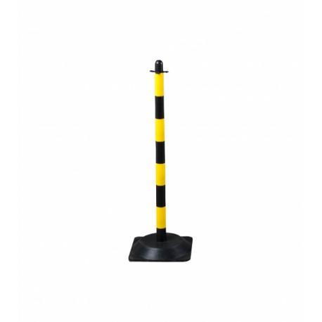 Słupek plastikowy żółto-czarny o wysokości 90cm, z kwadratową podstawą gumową