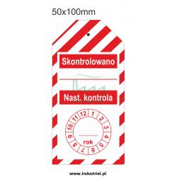 """Zawieszka kontroli przeglądów 50x100mm PL biało-czerwona """"SKONTROLOWANO"""""""