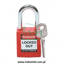 Kłódka lockout BRADY 051339, czerwona, ze stalowym kabłąkiem 38mm