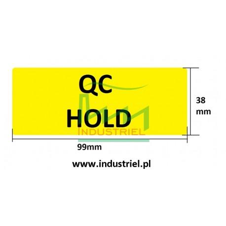 Etykiety kontroli jakości 99x38mm, żółte, neonowe, 14szt.
