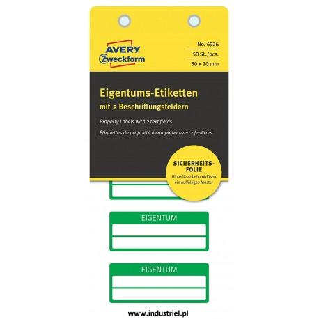 Tabliczki inwentaryzacyjne AVERY ZWECKFORM 6926 - plomby 2 pola na tekst 50x20 zielone