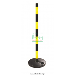 Słupek plastikowy żółto-czarny o wysokości 90cm, z kwadratową podstawą do wypełnienia wodą/piaskiem