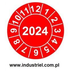 """Naklejki przeglądów TYP-2, Ø 20mm, rok """"2024"""", czerwone 35szt."""