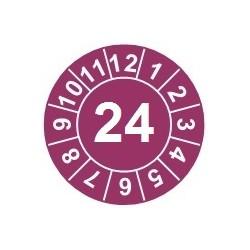 """Naklejki przeglądów TYP-1, Ø 25mm, rok """"24"""", kolor fioletowy, arkusz 20szt."""