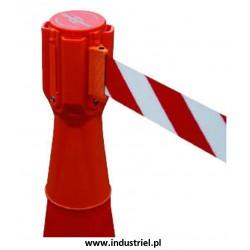 ST-N-3,7-PACHO Nakładka na pachołek drogowy z rozciąganą taśmą ostrzegawczą 3,7m Topper Tensacone