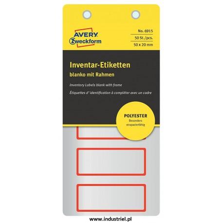 Etykiety Avery 6915 Tabliczki inwentaryzacyjne poliestrowe