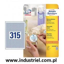 Etykieta usuwalna L6019REV-25 Avery okrągłe białe Ø10mm 7875 etykiet (naklejki kontroli jakości)