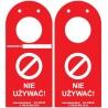 """Kontrolka rusztowań """"ScaffTag"""" w języku polskim, zawieszka czerwona, 135x305mm z otworem na rusztowanie"""
