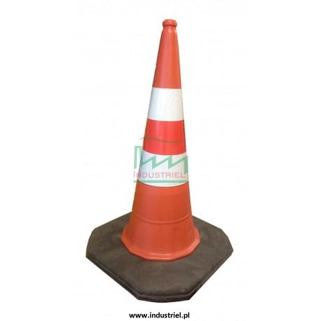 Pachołek drogowy, ciężki, na gumowej podstawie o wysokości 0,75m, biało-czerwony, odblaskowy