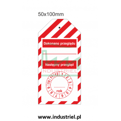 Zawieszka kontroli przeglądów 50x100mm PL biało-czerwona