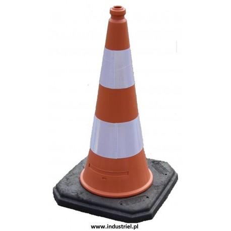 Pachołek drogowy, ciężki, na gumowej podstawie o wysokości 100cm, biało-czerwony, odblaskowy