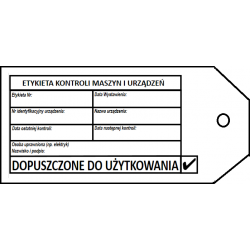 """Zawieszka kontroli urządzeń """"DOPUSZCZONE DO UŻYTKOWANIA"""""""