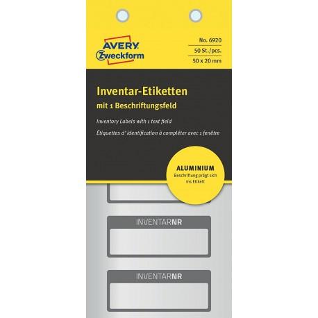 Tabliczki AVERY ZWECKFORM inwentaryzacyjne aluminiowe 6920