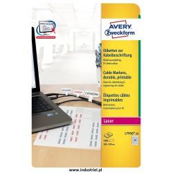 Etykiety do oznaczania kabli do drukarek laserowych, 60 x 40 mm Etykiety Avery L7950-20