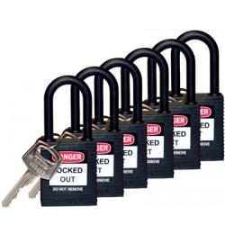 Kłódka Lockout BRADY 813595, czarna, z nylonowym kabłąkiem 38mm