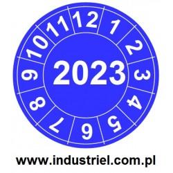 """Naklejki przeglądów TYP-2, Ø 20mm, rok """"2023"""", niebieskie, arkusz 35szt."""