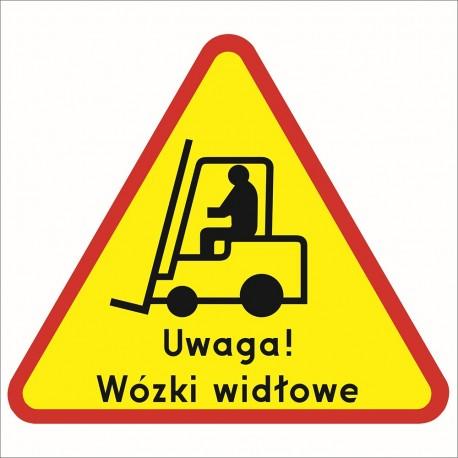 Naklejka podłogowa UWAGA Wózki widłowe.