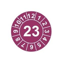 """Naklejki przeglądów TYP-1, Ø 25mm, rok """"18"""", kolor szary, arkusz 20szt."""