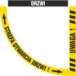 Naklejki podłogowe UWAGA + STREFA OTWARCIA DRZWI
