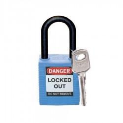 Kłódka Lockout BRADY 813593, niebieska, z nylonowym kabłąkiem 38mm