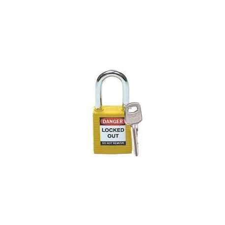 Kłódka bezpieczeństwa BRADY 051346, żółta, ze stalowym kabłąkiem 38mm