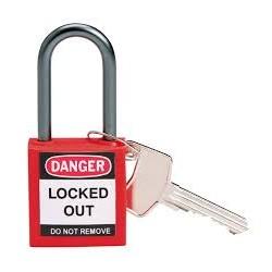Kompaktowa kłódka lockout BRADY 814126, czerwona, z aluminiowym kabłąkiem 38mm