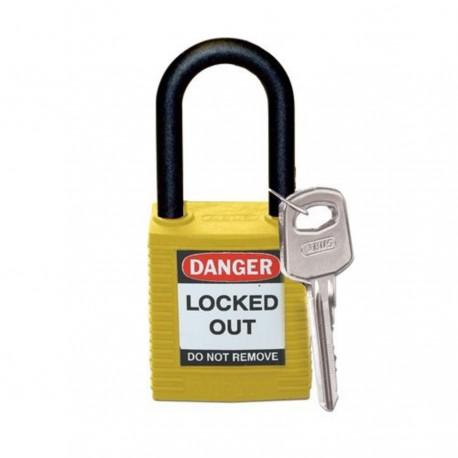 Kłódka Lockout BRADY 813596, żółta, z nylonowym kabłąkiem 38mm