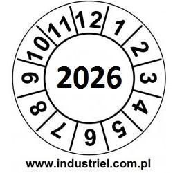 """Naklejki przeglądów TYP-2, Ø 10mm, rok """"2026"""", arkusz 143szt"""