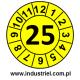"""Naklejki przeglądów TYP-1, Ø15mm, rok """"25"""", kolor do wyboru, arkusz 63szt."""