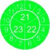 """Naklejki przeglądów TYP-3, Ø 20mm, trójdzielna na lata """"21/22/23"""", zielone, 35szt."""