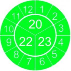 """Naklejki przeglądów TYP-3, Ø 10mm, trójdzielna na lata """"20/21/22"""", zielone, 143szt."""