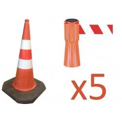 Zestaw wygrodzeniowy: 5 x pachołek 75cm + 5 x nakładka z taśmą 3,7m