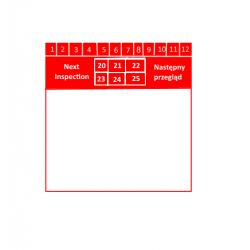 Etykiety samolaminujące na kable - do oznaczania daty następnego przeglądu, lata 20-25, małe: 35x34mm