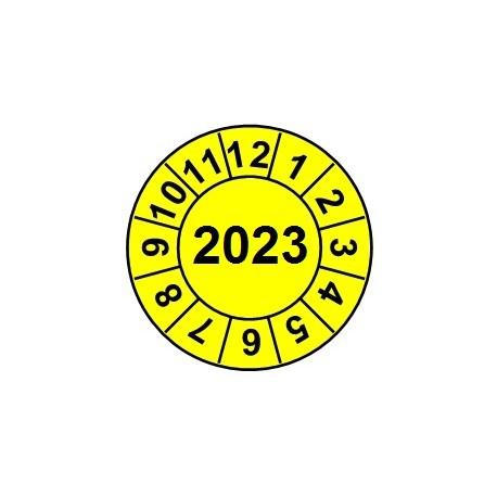 """Naklejki przeglądów TYP-2, Ø 15mm, rok """"2023"""", wybór koloru, arkusz 63szt."""