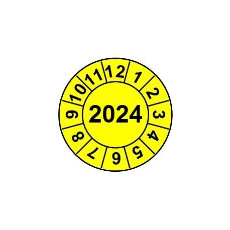 """Naklejki przeglądów TYP-2, Ø 15mm, rok """"2024"""