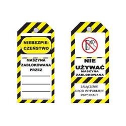 Przywieszka ostrzegawcza LOTO standardowa PL, biało-żółto-czarna, 75x160mm
