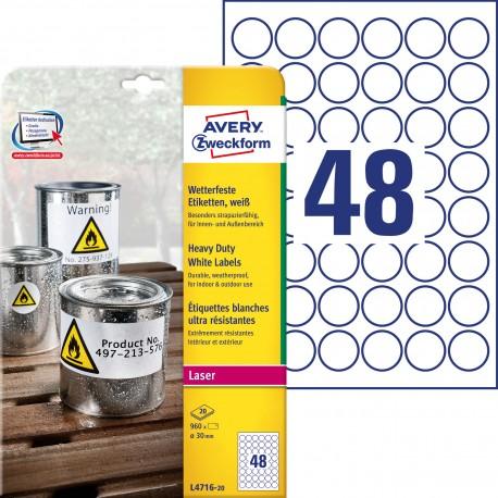 Avery L4716-20 Białe etykiety Heavy Duty do drukarek laserowych, Ø 30 mm