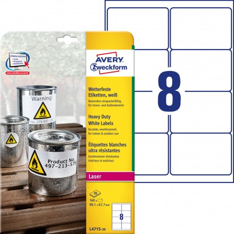 Białe etykiety Heavy Duty do drukarek laserowych, 99,1 x 67,7 mm Avery Zweckform L4715-20