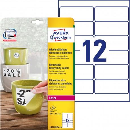 Usuwalne etykiety Heavy Duty Avery Zweckform, A4, 20 ark./op., 99,1 x 42,3 mm, białe, poliestrowe