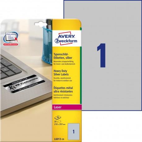 Etykiety tabliczki znamionowe srebrne Avery Zweckform L6013-20 roz. 210x297mm 20 etykiet