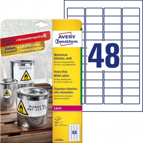 Etykiety Heavy Duty Avery Zweckform, A4, 8 ark./op., 45,7 x 21,2 mm, białe, poliestrowe