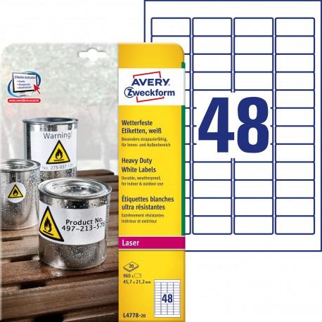 Etykiety Heavy Duty Avery Zweckform, A4, 20 ark./op., 45,7 x 21,2 mm, białe, poliestrowe