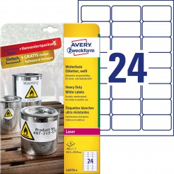 Etykiety Heavy Duty Avery Zweckform, A4, 8 ark./op., 63,5 x 33,9 mm, białe, poliestrowe