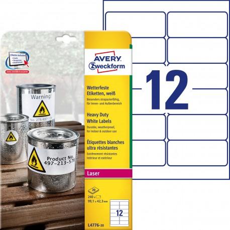 Etykiety Heavy Duty Avery Zweckform, A4, 20 ark./op., 99,1 x 42,3 mm, białe, poliestrowe