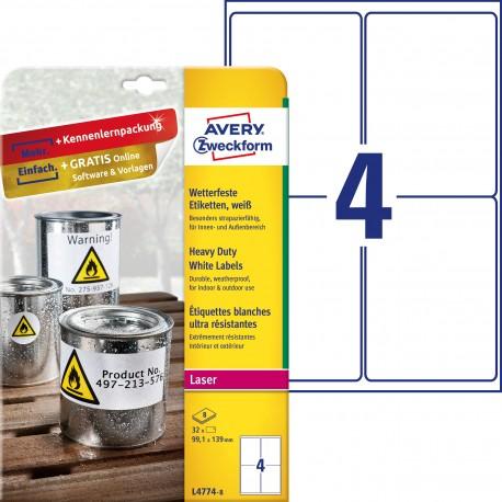 Etykiety Heavy Duty Avery Zweckform, A4, 8 ark./op., 99,1 x 139 mm, białe, poliestrowe