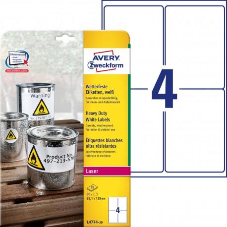 Etykiety Heavy Duty Avery Zweckform, A4, 20 ark./op., 99,1 x 139 mm, białe, poliestrowe