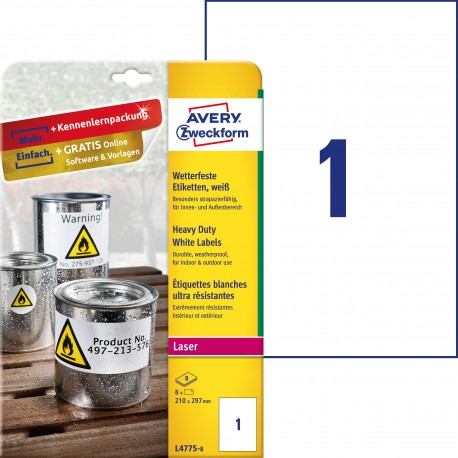 Etykiety Heavy Duty Avery Zweckform, A4, 8 ark./op., 210 x 297 mm, białe, poliestrowe