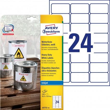 Etykiety Heavy Duty Avery Zweckform, A4, 10 ark./op., 63,5 x 33,9 mm, białe, poliestrowe